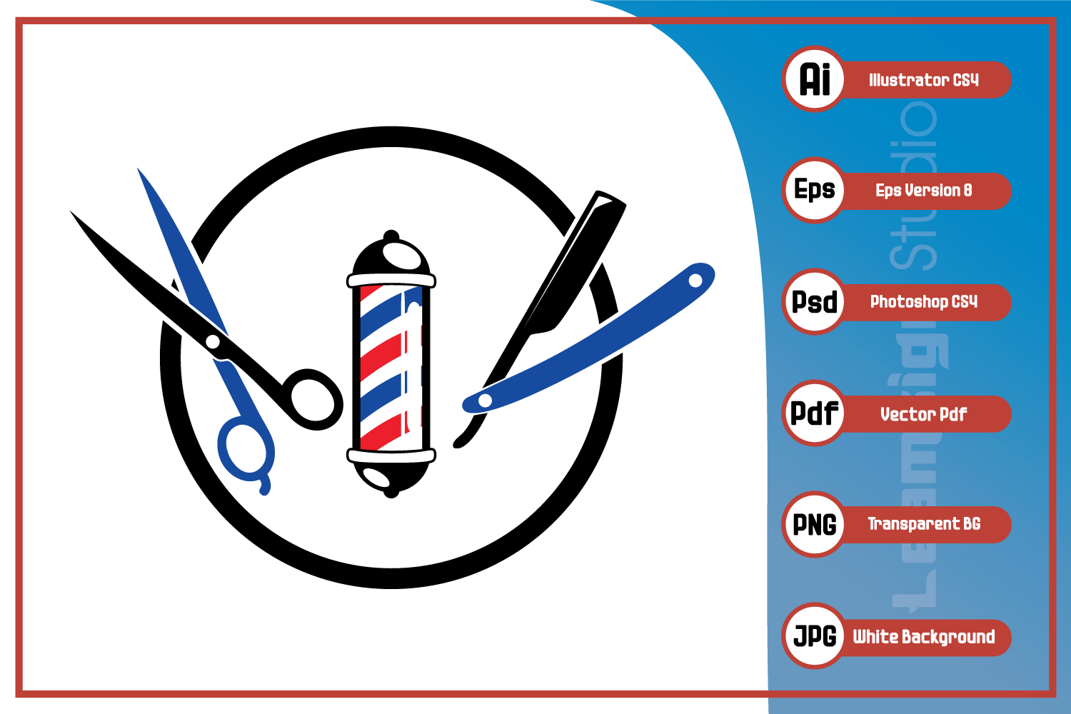 Download Free Barber Shop Symbol Design Graphic By Leamsign Creative Fabrica for Cricut Explore, Silhouette and other cutting machines.