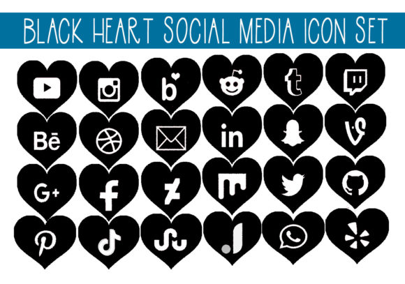 Print on Demand: Black Hearts Social Media Icon Set Graphic Icons By capeairforce