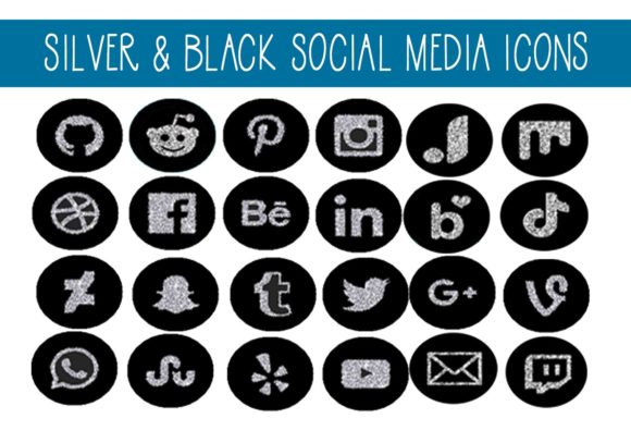 Print on Demand: Black & Silver Social Media Icons Graphic Illustrations By capeairforce