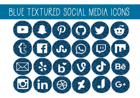 Print on Demand: Blue Textured Social Media Circles Graphic Illustrations By CapeAirForce - Image 1