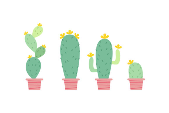 Cartoon Cactus Sets Graphic Crafts By dangglemstudio