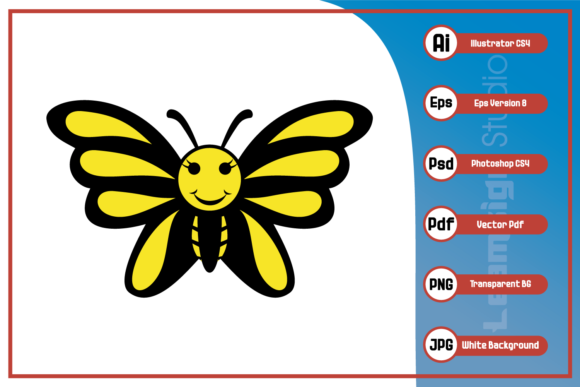 Print on Demand: Cartoon of Funny Butterfly Design, Graphic Icons By leamsign