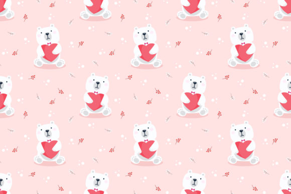 Download Free Cute Polar Bear Hold Heart Seamless Graphic By Thanaporn Pinp SVG Cut Files