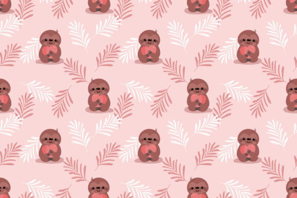 Download Free Cute Sloth And Heart Seamless Pattern Graphic By Thanaporn Pinp for Cricut Explore, Silhouette and other cutting machines.