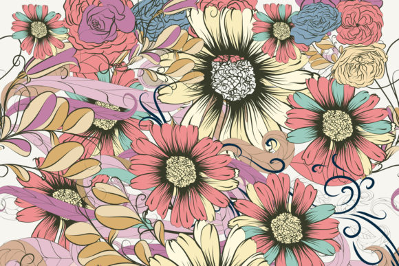 Cute  Vector Pattern with Rustic Flowers Graphic Patterns By fleurartmariia