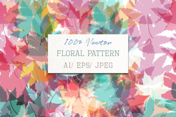 Floral Pattern with Colorful Foliage Grafik Muster von fleurartmariia