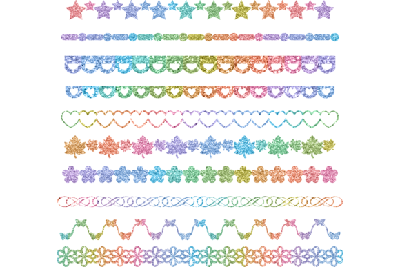 Print on Demand: Glitter Rainbow Boarder Designer Bundle Graphic Print Templates By AM Digital Designs