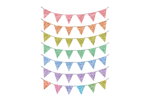 Print on Demand: Glitter Rainbow Bunting Flags Graphics Graphic Print Templates By AM Digital Designs