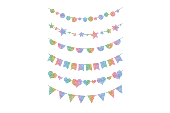 Print on Demand: Glitter Rainbow Bunting Graphic  Graphic Print Templates By AM Digital Designs