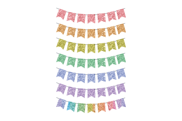Print on Demand: Glitter Rainbow Bunting Transparent  Graphic Print Templates By AM Digital Designs