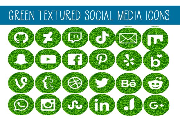 Print on Demand: Green Textured Social Media Icons Graphic Illustrations By capeairforce - Image 1