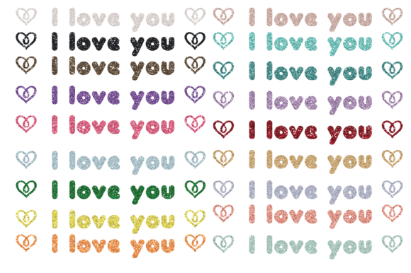 Print on Demand: I Love You Glitter Clip Art Graphic PNG Graphic Print Templates By Angela Wheeland