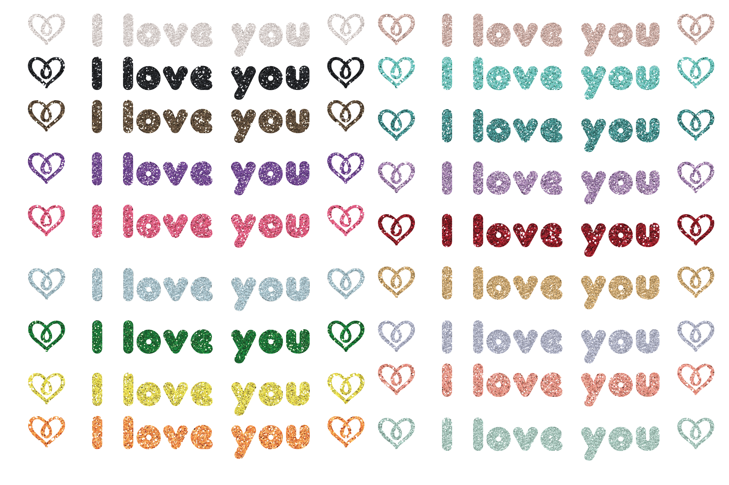 Download Free I Love You Glitter Clip Art Graphic Png Graphic By Am Digital for Cricut Explore, Silhouette and other cutting machines.