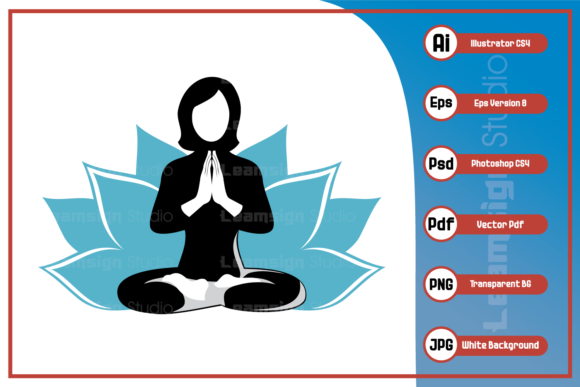 Print on Demand: Illustration of Woman Doing Yoga Design Graphic Icons By leamsign
