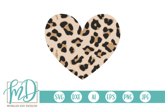 Print on Demand: Leopard Valentines Day Heart Graphic Crafts By Morgan Day Designs