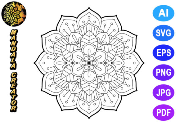 Mandala Vector Element Graphic Coloring Pages & Books Adults By V-Design Creator