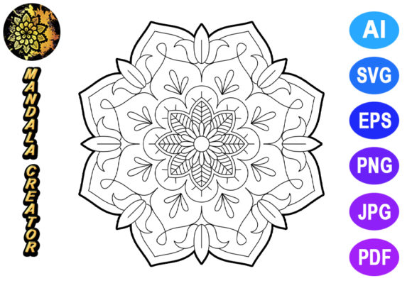 Print on Demand: Mandala Vector Element for Coloring Graphic Coloring Pages & Books Adults By V-Design Creator