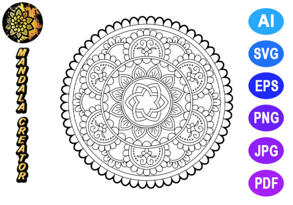 Download Free Mandala Vector Element For Coloring Graphic By V Design Creator for Cricut Explore, Silhouette and other cutting machines.