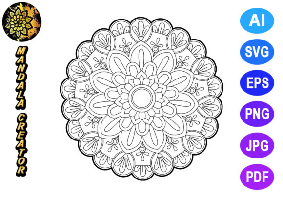 Mandala Vector Element for Coloring Graphic Coloring Pages & Books Adults By V-Design Creator