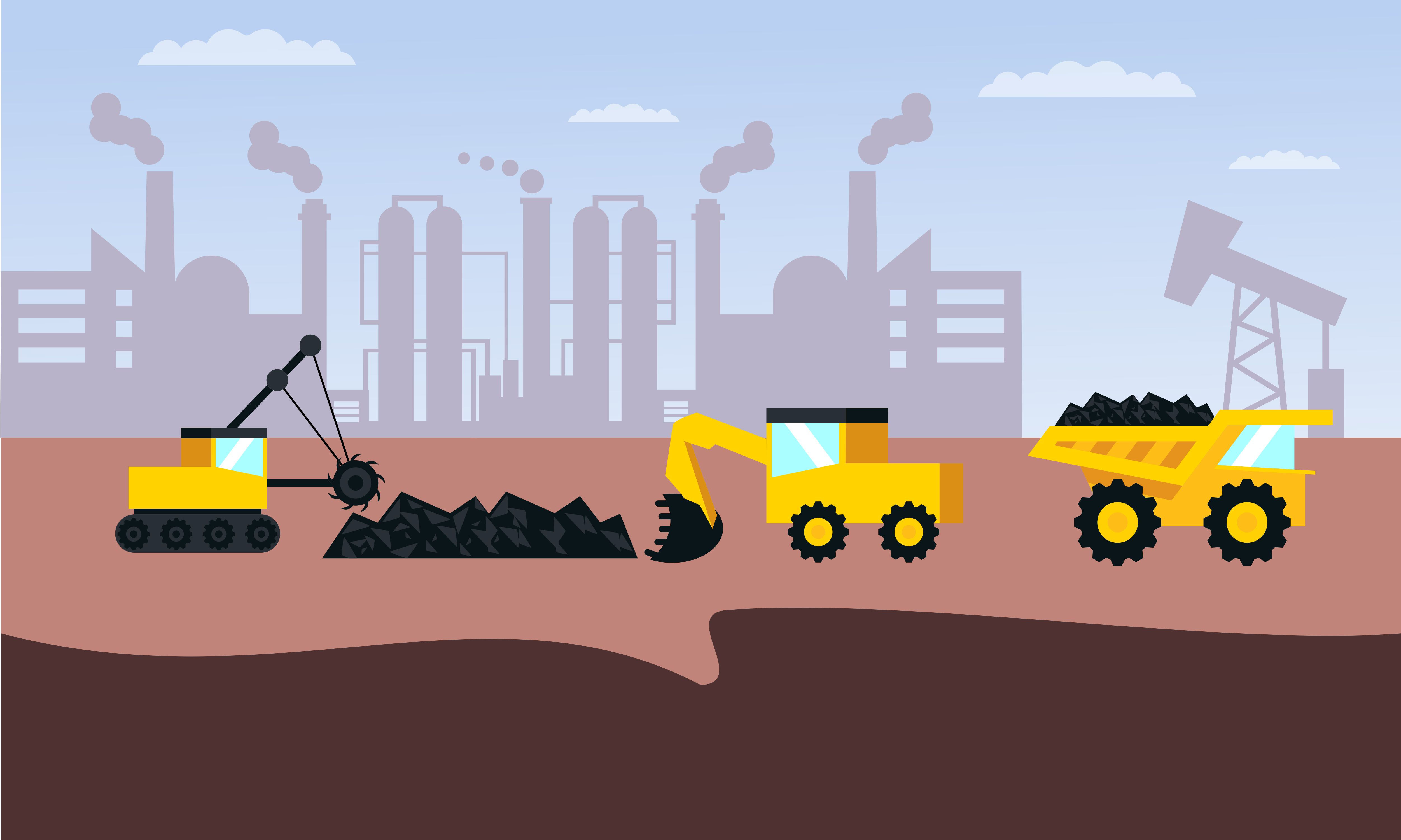 Download Free Mining Industry Flat Composition Logo Graphic By Deemka Studio for Cricut Explore, Silhouette and other cutting machines.