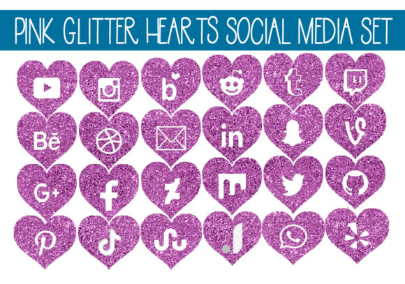 Print on Demand: Pink Glitter Heart Social Media Icon Set Graphic Illustrations By capeairforce - Image 1