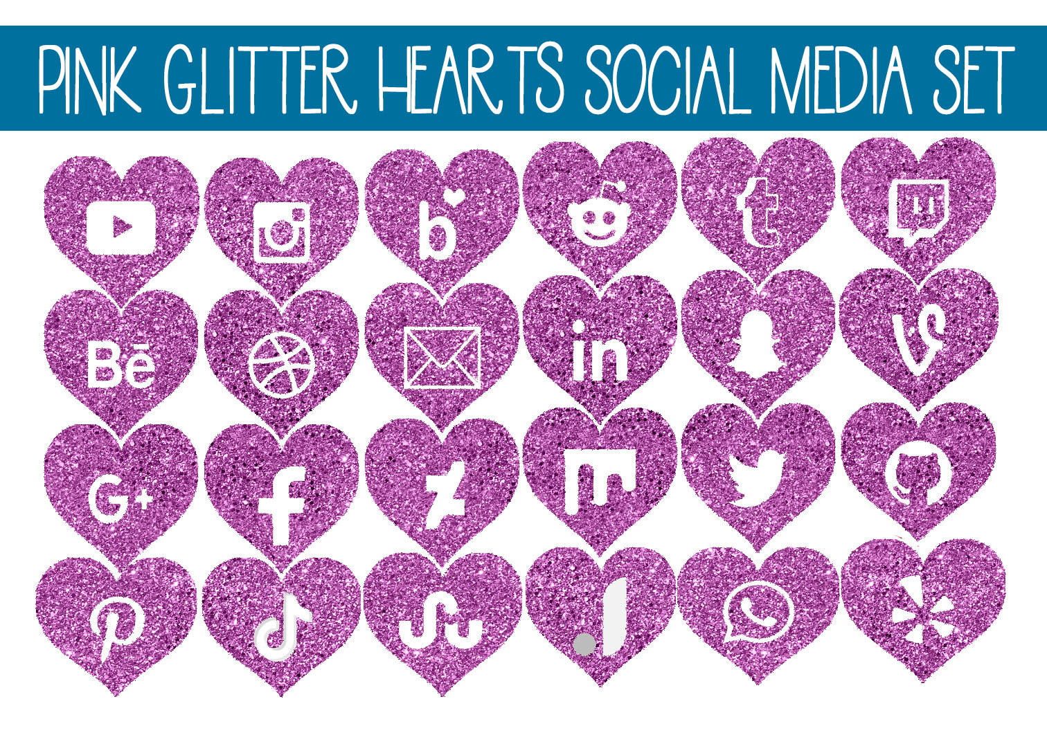 Download Free Pink Glitter Heart Social Media Icon Set Graphic By Capeairforce Creative Fabrica for Cricut Explore, Silhouette and other cutting machines.