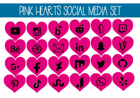 Print on Demand: Pink Hearts Social Media Set Graphic Illustrations By capeairforce