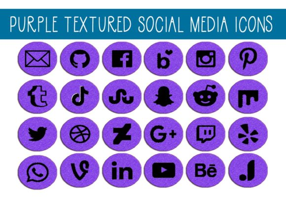 Print on Demand: Purple Textured Social Media Icons Graphic Illustrations By capeairforce