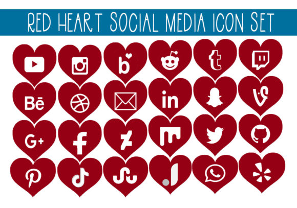 Print on Demand: Red Heart Social Media Icon Set Graphic Illustrations By capeairforce
