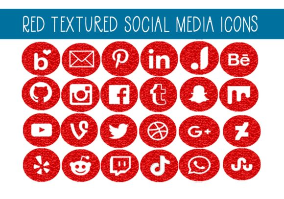 Print on Demand: Red Textured Social Media Icons Graphic Illustrations By capeairforce - Image 1