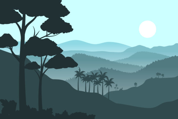Print on Demand: Silhouette Mountains Background Graphic Illustrations By sabavector