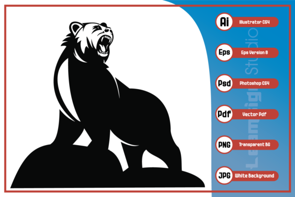 Print on Demand: Strong Bear Silhouette Design Graphic Icons By leamsign