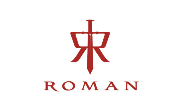 Download Free Sword Initial Letter R Roman Logo Design Graphic By Enola99d for Cricut Explore, Silhouette and other cutting machines.