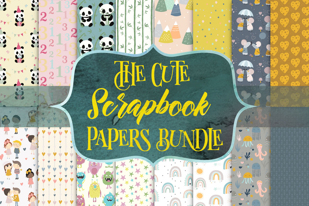 Download Free The Cute Scrapbook Papers Bundle Bundle Creative Fabrica for Cricut Explore, Silhouette and other cutting machines.