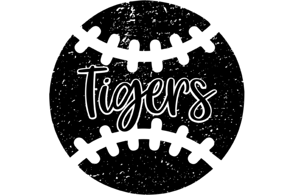 Print on Demand: Tigers Distressed Baseball SVG Graphic Graphic Print Templates By Angela Wheeland