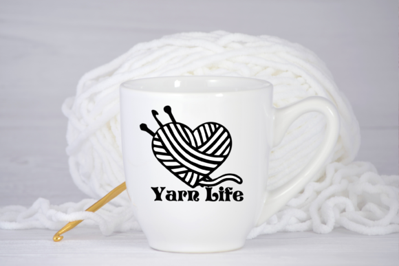 Download Free Yarn Life Yarn Knitting Crochet Hook Svg Graphic By Am Digital for Cricut Explore, Silhouette and other cutting machines.