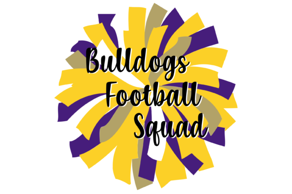 Print on Demand: Yellow Purple and Gold Bulldogs Pom SVG Graphic Print Templates By AM Digital Designs