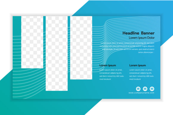 Print on Demand: Background Blue Line Horizontal Flyer Graphic Graphic Templates By noory.shopper