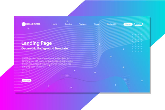 Print on Demand: Blue Purple Gradient Landing Page Backgr Graphic Graphic Templates By noory.shopper