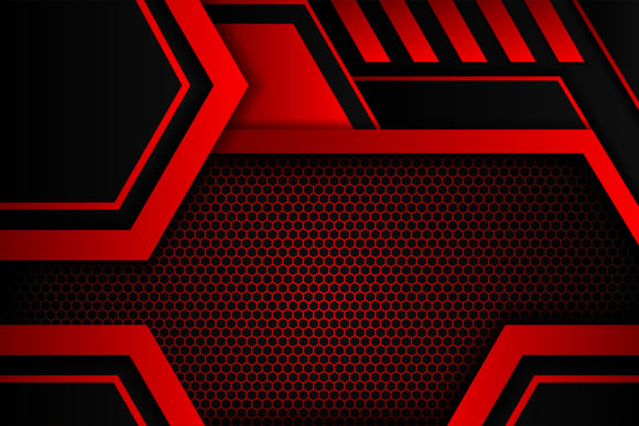 Print on Demand: Geometric Red Background Black Graphic Backgrounds By noory.shopper
