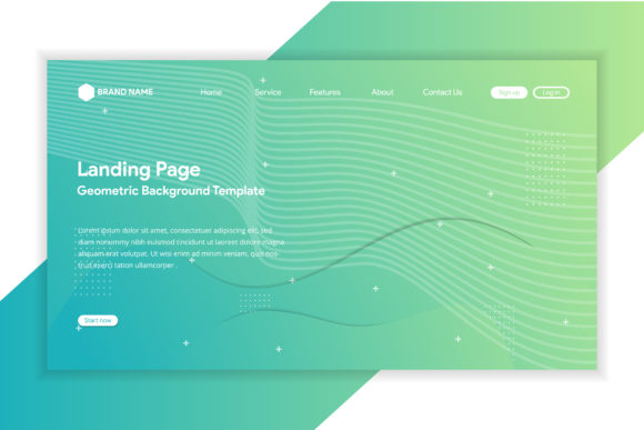 Print on Demand: Gradient Green Landing Page Line Graphic Graphic Templates By noory.shopper