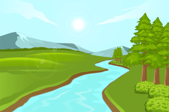 Print on Demand: Illustration of Natural Scenery Graphic Illustrations By sabavector - Image 1