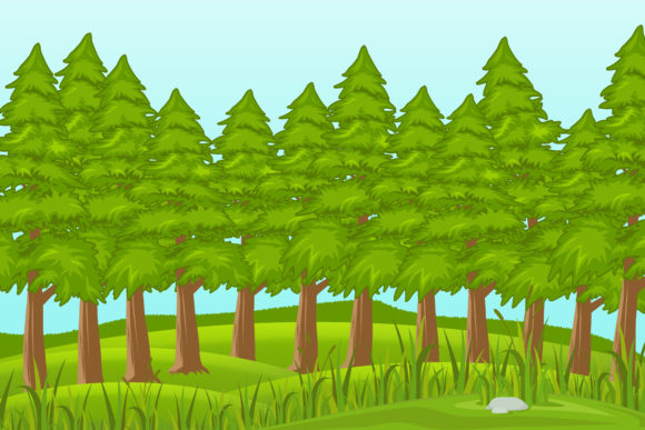 Print on Demand: Illustration of Pine Forest Graphic Illustrations By sabavector - Image 1