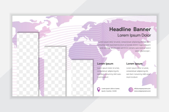 Print on Demand: Map Purple with Vertical Photo Flyer Graphic Graphic Templates By noory.shopper