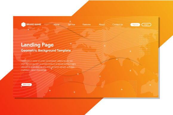 Print on Demand: Orange Landing Page Background Map Graphic Graphic Templates By noory.shopper