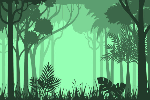 Download Free Silhouette Forest Background Graphic By Sabavector Creative for Cricut Explore, Silhouette and other cutting machines.