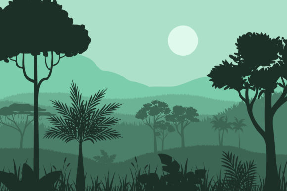 Print on Demand: Silhouette Forest Background Graphic Illustrations By sabavector
