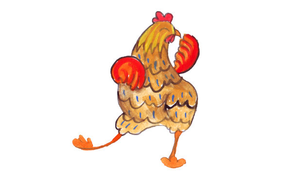 Dancing Chicken in Watercolor Style Animals Craft Cut File By Creative Fabrica Crafts