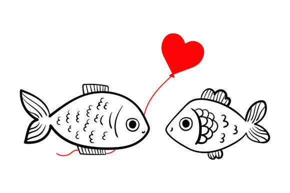 Lover Fishes Valentine's Day Craft Cut File By Creative Fabrica Crafts - Image 1