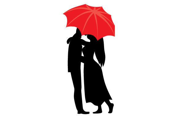 Couple Kissing Under Umbrella Valentine's Day Craft Cut File By Creative Fabrica Crafts
